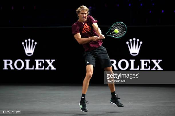 Alexander Zverev of Team Europe plays a backhand during a practice session ahead of the Laver Cup 2019 at Palexpo on September 19, 2019 in Geneva,...