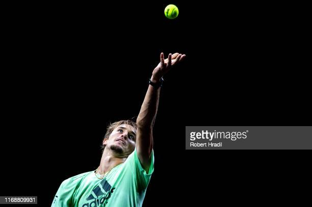 Alexander Zverev of Team Europe serves during a practice session prior to the Laver Cup at Palexpo on September 17 2019 in Geneva Switzerland The...