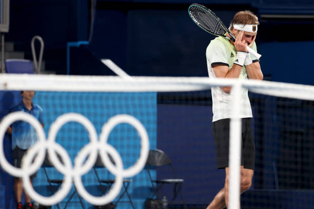 Alexander Zverev of Team Germany celebrates victory after his Men's Singles Semifinal match against Novak Djokovic of Team Serbia on day seven of the...