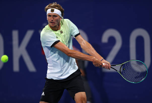 Alexander Zverev of Team Germany plays a backhand during his Men's Singles Quarterfinal match against Jeremy Chardy of Team France on day six of the...