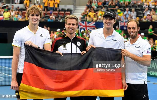 Alexander Zverev Peter Gojowczyk JanLennard Struff and Tim Putz of Germany celebrate their victory over Ausatralia during the Davis Cup World Group...