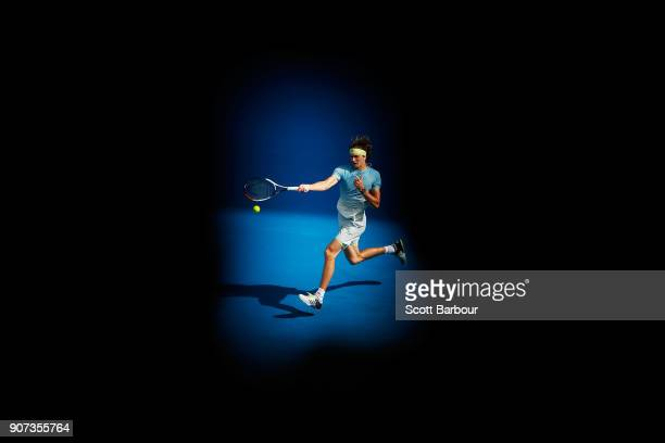 Alexander Zverev plays a forehand in his third round match against Hyeon Chung of Korea on day six of the 2018 Australian Open at Melbourne Park on...