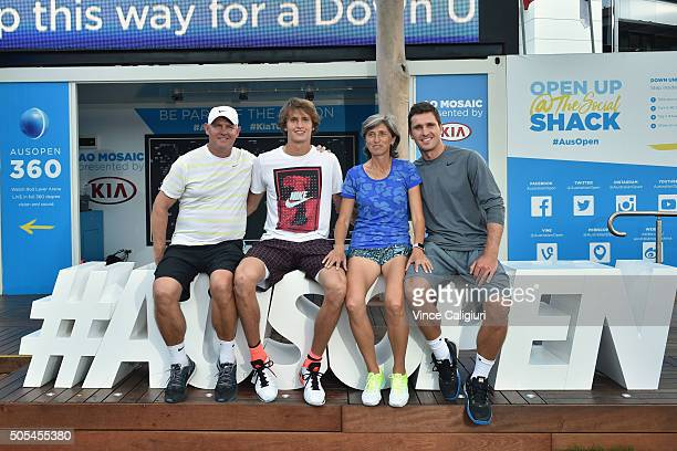 Alexander Zverev poses with his father Alexander Zverev mother Irena Zverev and brother Mischa Zverev pose for a photo on the AO hashtag outside the...