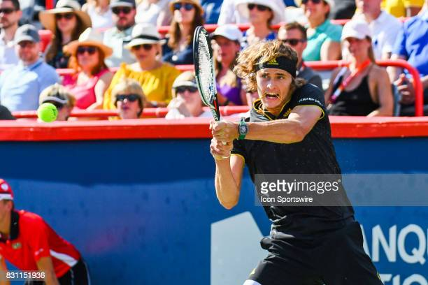 Alexander Zverev returns the ball during his final round match at ATP Coupe Rogers on August 13 at Uniprix Stadium in Montreal QC