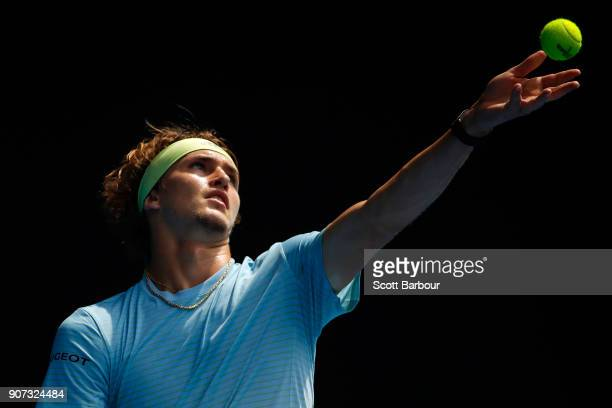 Alexander Zverev serves in his third round match against Hyeon Chung of Korea on day six of the 2018 Australian Open at Melbourne Park on January 20...