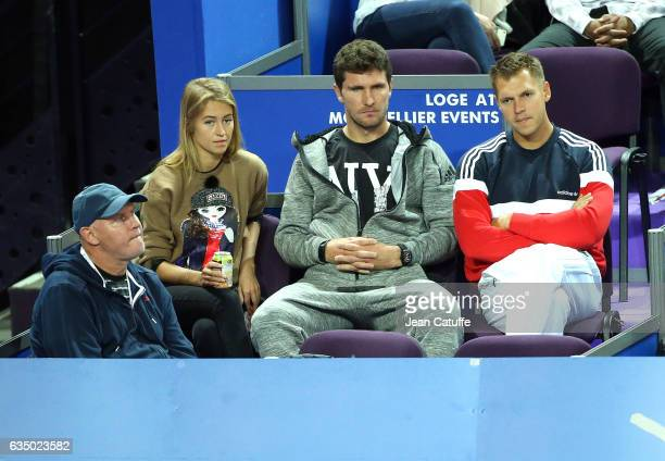 Alexander Zverev Sr father and coach of Alexander Zverev of Germany Mischa Zverev Alexander's brother attend his match during day 6 of the Open Sud...
