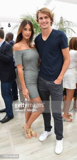 Alexander Zverev with girlfriend Brenda Patea as they attend the Crown IMG Tennis Party on January 19 2020 in Melbourne Australia