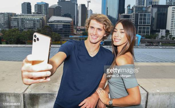 Alexander Zverev with girlfriend Brenda Patea as they take a selfie attending the Crown IMG Tennis Party on January 19 2020 in Melbourne Australia