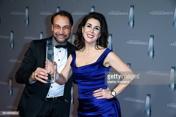 AlexanderKlaus Stecher and his wife Judith Williams present their award during the German Television Award at Rheinterrasse on January 13 2016 in...