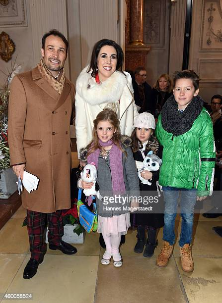 AlexanderKlaus Stecher and his wife Judith Williams with their children Sophie Angelina and Laurin attend the 19th BMW Advent Charity Concert at St...