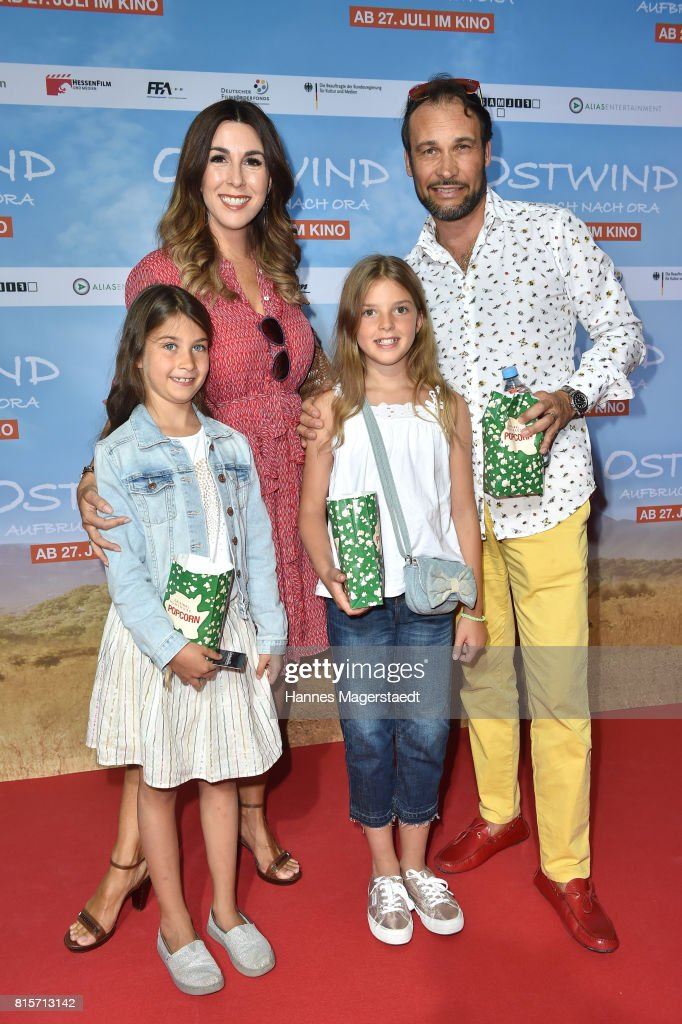 Alexander-Klaus Stecher and his wife Judith Williams with their children Sophie and Angelina during the 'Ostwind - Aufbruch nach Ora' premiere in Munich at Mathaeser Filmpalast on July 16, 2017 in Munich, Germany.
