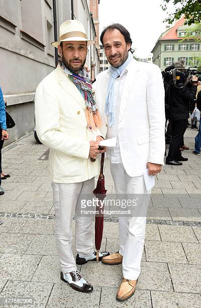 AlexanderKlaus Stecher and Manfred Stecher attend the memorial service for the deceased actor Pierre Brice at Saint Michael church on June 18 2015 in...