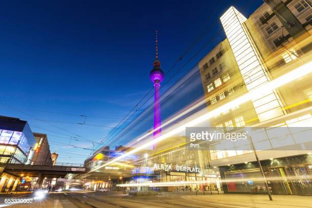 Alexanderplatz and Television Tower with passing tramway (Berlin, Germany)