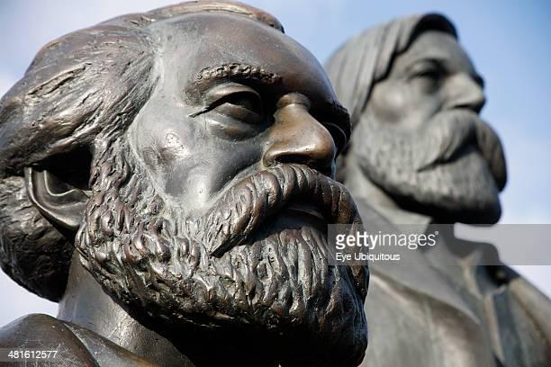Alexanderplatz, Detail of statue of Karl Marx and Friedrich Engels