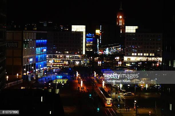 Alexanderplatz Square at Night, Berlin, Germany
