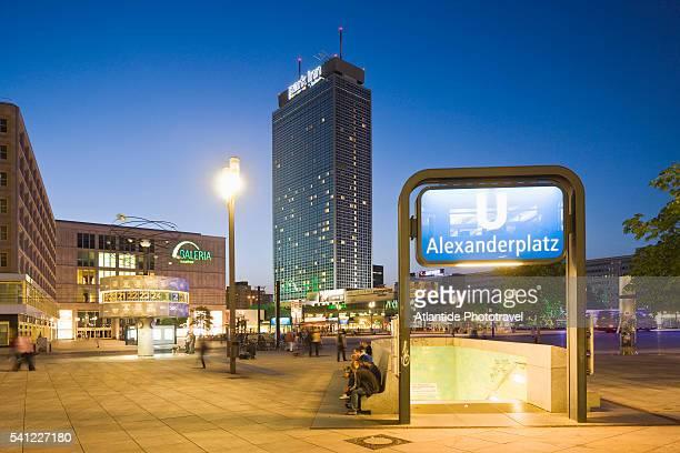 Alexanderplatz, the entrance of the U-Bahn, and the Park Hotel, Berlin, Germany