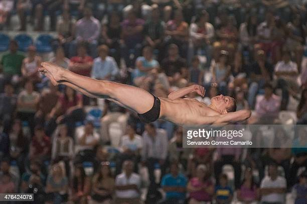 Alexandr Belevtcev in action in the 3 meter springboard during the Day 2 of a diving qualifier for the Youth Olympic Games Nanjing 2014 at the...