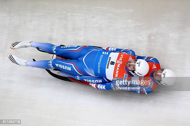 Alexandr Denisyev and Vladislav Antonov of Russia compete during the men doubles first heat of the Viessmann Luge World Cup Day 1 at Veltins EisArena...