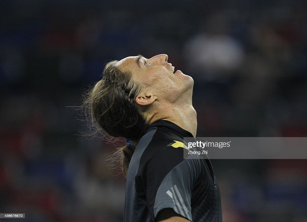 Alexandr Dogopolov of Ukraine reacts during his match against Roberto Bautista Agut of Spain during the day one of the Shanghai Rolex Masters at the Qi Zhong Tennis Center on October 5, 2014 in Shanghai, China.