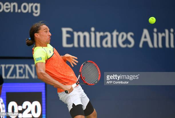 Alexandr Dolgopolov of the Ukraine returns the ball to Rafael Nadal of Spain during their Round 4, US Open 2017, Men's Singles match at the USTA...