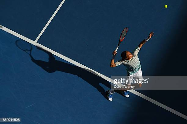 Alexandr Dolgopolov of the Ukraine serves in his second round match against Gael Monfils of France on day four of the 2017 Australian Open at...