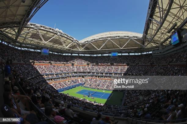 Alexandr Dolgopolov of Ukraine battles against Rafael Nadal of Spain Arthur Ashe Stadium during their fourth round Men's Singles match on Day Eight...