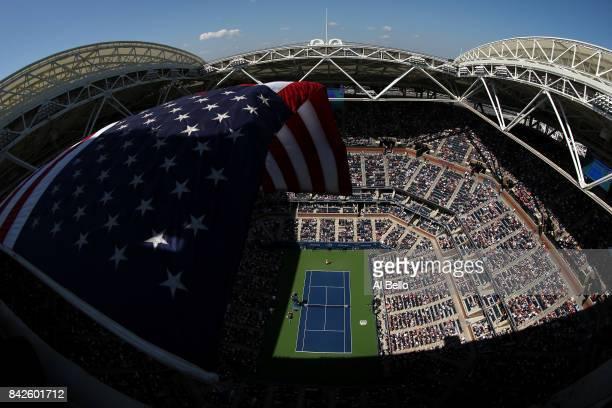 Alexandr Dolgopolov of Ukraine battles against Rafael Nadal of Spain in Arthur Ashe Stadium during their fourth round Men's Singles match on Day...