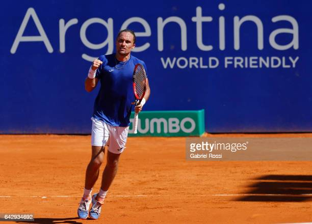 Alexandr Dolgopolov of Ukraine celebrates after wining a point during a final match between Kei Nishikori of Japan and Alexandr Dolgopolov of Ukraine...