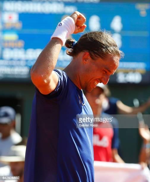 Alexandr Dolgopolov of Ukraine celebrates after wining the final match between Kei Nishikori of Japan and Alexandr Dolgopolov of Ukraine as part of...