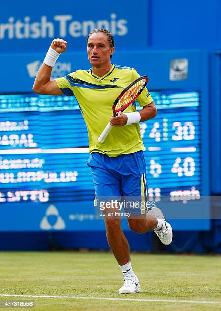 Alexandr Dolgopolov of Ukraine celebrates his victory in his men's singles first round match against Rafael Nadal of Spain during day two of the...
