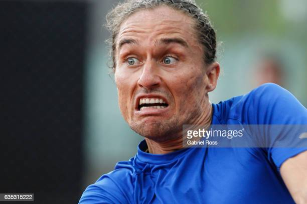 Alexandr Dolgopolov of Ukraine gestures during a first round match between Alexandr Dolgopolov of Ukraine and Janko Tipsarevic of Serbia as part of...