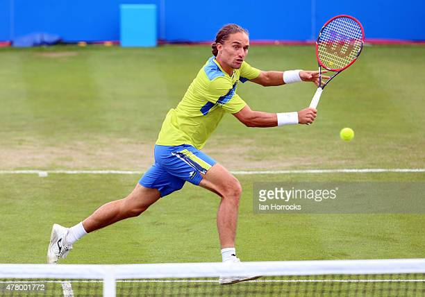 Alexandr Dolgopolov of Ukraine in action in his match against Donald Young of the USA during day one of the ATP Aegon Open at Nottingham Tennis...