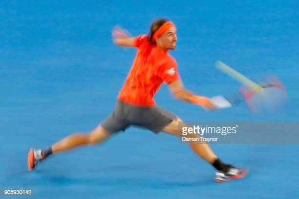 Alexandr Dolgopolov of Ukraine of Ukraine plays a back hand in his second round match against Matthew Ebden of Australia on day three of the 2018...
