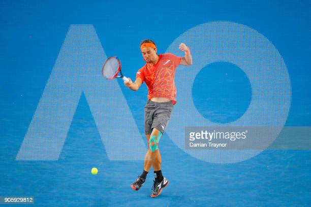 Alexandr Dolgopolov of Ukraine of Ukraine plays a forehand in his second round match against Matthew Ebden of Australia on day three of the 2018...