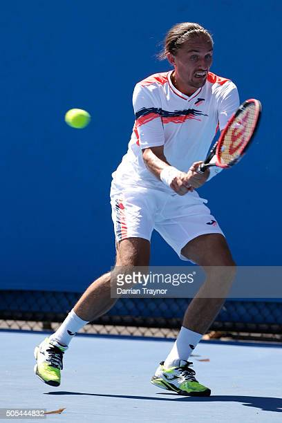 Alexandr Dolgopolov of Ukraine plays a backhand in his first round match against Ricardas Berankis of Lithuania during day one of the 2016 Australian...