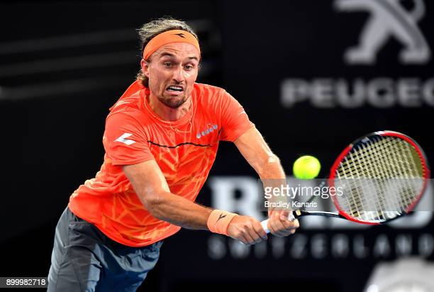 Alexandr Dolgopolov of Ukraine plays a backhand in his match against Diego Schwartzman of Argentina during day one at the 2018 Brisbane International...