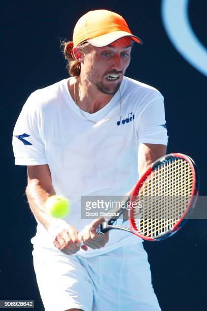 Alexandr Dolgopolov of Ukraine plays a backhand in his third round match against Diego Schwartzman of Argentina on day five of the 2018 Australian...