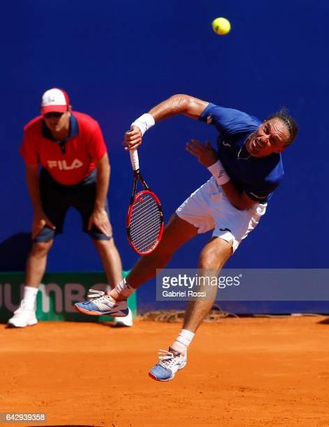 Alexandr Dolgopolov of Ukraine serves during a final match between Kei Nishikori of Japan and Alexandr Dolgopolov of Ukraine as part of ATP Argentina...