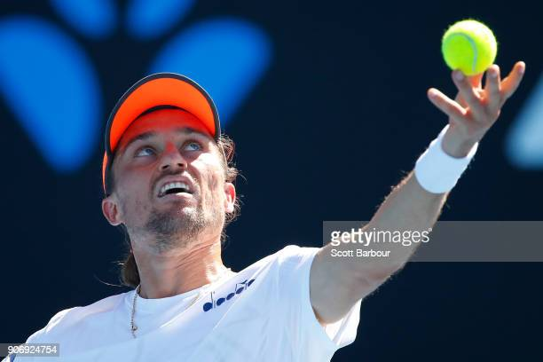 Alexandr Dolgopolov of Ukraine serves in his third round match against Diego Schwartzman of Argentina on day five of the 2018 Australian Open at...