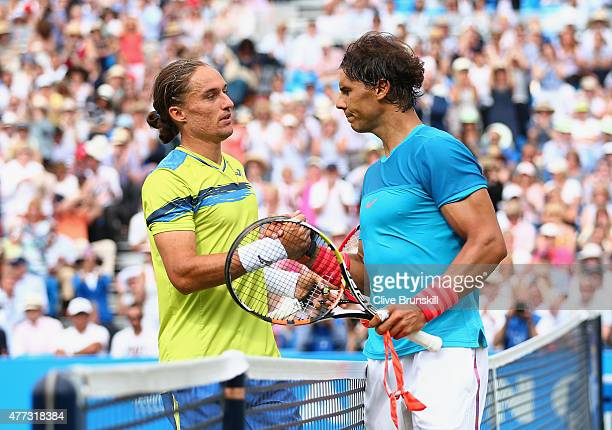 Alexandr Dolgopolov of Ukraine shakes hands with Rafael Nadal of Spain after their men's singles first round match against during day two of the...