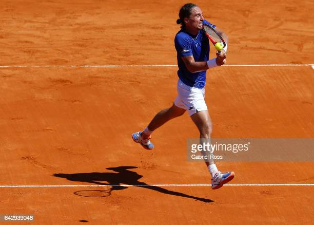 Alexandr Dolgopolov of Ukraine takes a backhand shot during a final match between Kei Nishikori of Japan and Alexandr Dolgopolov of Ukraine as part...