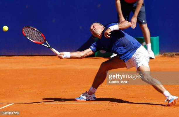 Alexandr Dolgopolov of Ukraine takes a forehand shot during a final match between Kei Nishikori of Japan and Alexandr Dolgopolov of Ukraine as part...