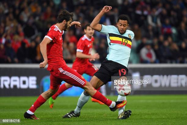 Alexandr Erokhin midfielder of Russia Moussa Dembele midfielder of Belgium during the International Friendly Match before the FIFA World Cup 2018 in...