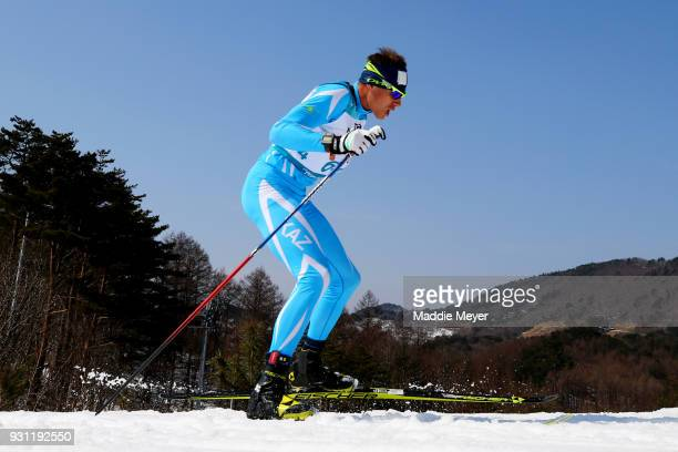 Alexandr Gerlits of Kazakhstan competes in the Men's 125 km Standing Biathlon at Alpensia Biathlon Centre on Day 4 of the PyeongChang 2018 Paralympic...