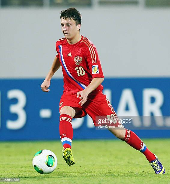 Alexandr Golovin of Russia controles the ball during the FIFA U17 World Cup UAE 2013 Group D match between Tunisia and Russia at Sharjah Stadium on...