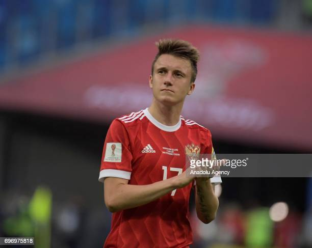 Alexandr Golovin of Russia gestures after the FIFA Confederations Cup 2017 opening match between Russia and New Zealand at SaintPetersburg Stadium in...