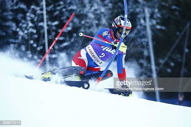 Alexandr Horoshilov of Russia competes during the Audi FIS Alpine Ski World Cup Men's Slalom on January 06 2016 in Santa Caterina Valfurva Italy