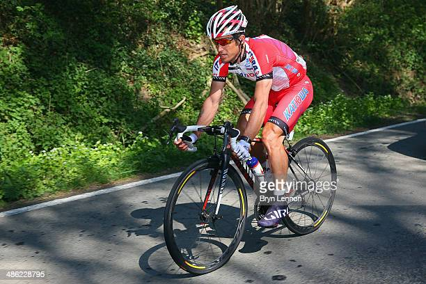 Alexandr Kolobnev of Russia of Team Katusha in action during the 78th edition of the La Fleche Wallonne on April 23 2014 in Bastogne Belgium The...