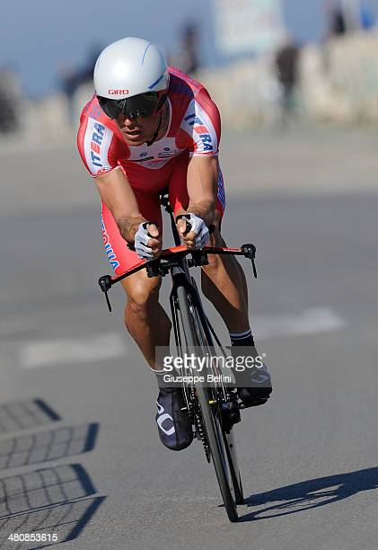 Alexandr Kolobnev of Team Katusha in action during stage seven of the 2014 Tirreno Adriatico a 91 km individual time trial stage on March 18 2014 in...