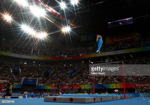 Alexandr Shatilov of Israel competes on the rings during the artistic gymnastics event held at the National Indoor Stadium during Day 1 of the 2008...